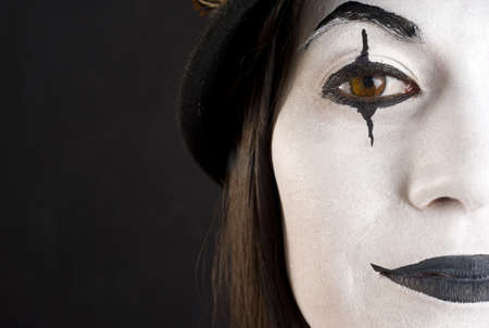 persona: Beautiful Megan in her Mime Clown Roll Stock Photo