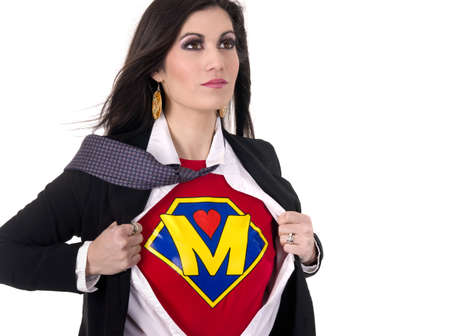 A Woman shows her Super Mother Uniform underneath her street clothes