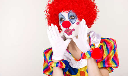 Woman Clown making an important announcement