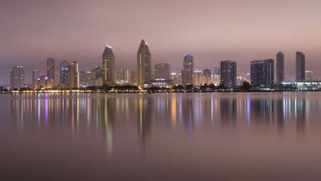 San Diego Skyline from Coronado late at night photo