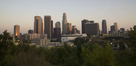 A wide shot of the Los Angeles Skyline at Dusk photo