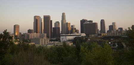 urban sprawl: A wide shot of the Los Angeles Skyline at Dusk