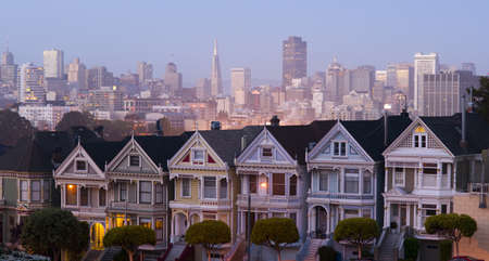 San Francisco and the Neighborhood panoramic style Foto de archivo