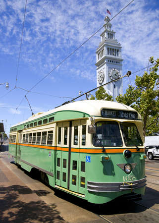 San Francisco Trolley Car moves through the street  photo