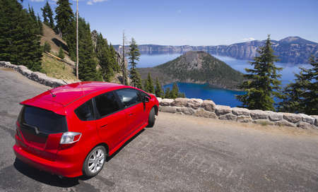 snag: A Car is stopped at Crater Lake Oregon in the United States
