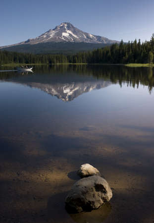 rock bottom: Mountain Lake called Trillium near Mount Hood