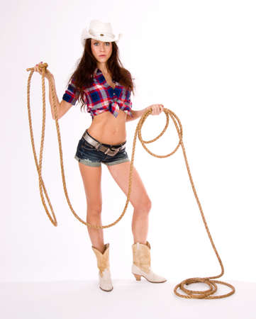 Portrait of a Western Woman ready to Rope photo