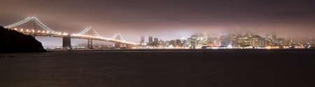 Bay Bridge and San Francisco in the Fog at night