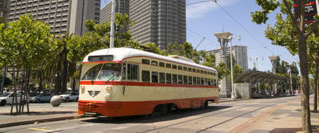 San Francisco Trolley Car moves through the street