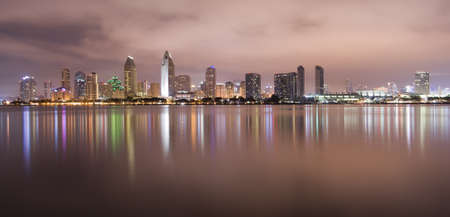 San Diego California Skyline at Night photo
