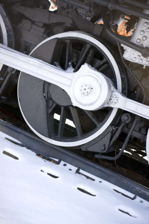 traction: Drive wheel of a vintage train