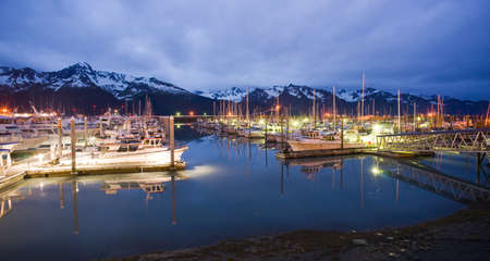Seward marina in the middle of the night