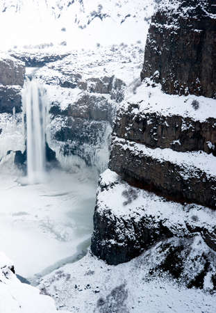 fallin: Palouse Falls in the Winter Central Washington State Stock Photo