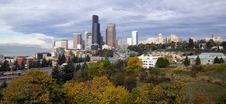 super highway: Seattle from Beacon HIll on a crisp fall day Stock Photo