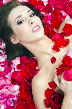 Brunette woman in a pile of red rose petals Stock Photo - 15892661