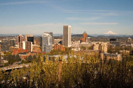 mount hood: Portland Oregon downtown with Mount Hood standing in the background