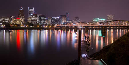 hawthorne: The Hawthorne Bridge stands pointing into downtown Portland Oregon Stock Photo