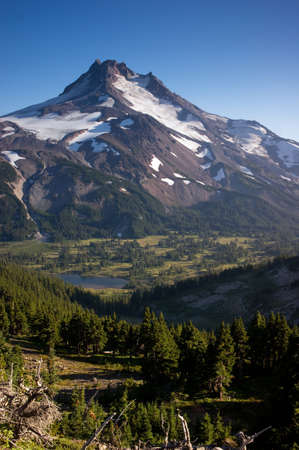 cascade range: Mount Jefferson a hard to view mountain in the Cascade Range of Oregon