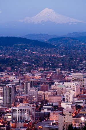 Portland Oregon downtown with Mount Hood standing in the background