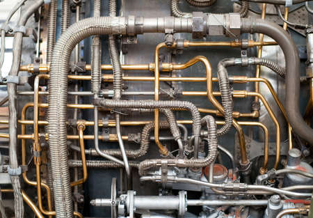 Hydraulics lines on the side of a rocket