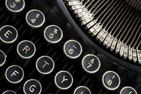 a horizontal selection of keys from a vintage typewriter