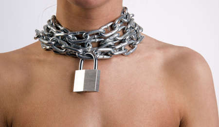 Woman with a lock and chain around her neck Stock Photo - 16715466