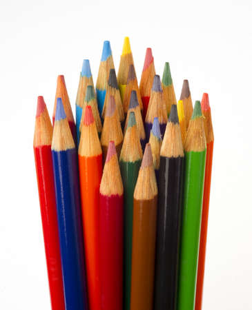a set of color pencils sharpened and ready for use