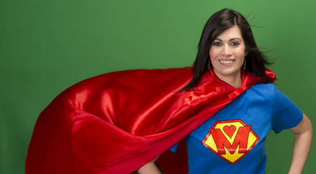 woman chest: Super Mother in Red Cape With Chest Crest Smiling