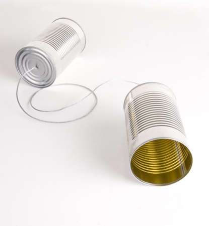 walkie: Two Cans Strung Together With Metal Wire Walkie Talkie Stock Photo