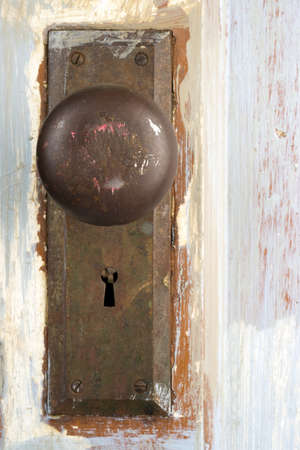 Beautiful Old Distressed Antique Door Knob Lock Keyhole Assembly photo