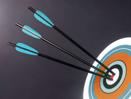 Three Green and Black Archery Arrows Hit Round Multi Colored Target Bullseye Center Stock Photo - 19059425
