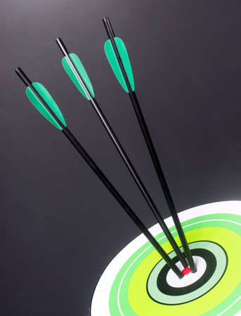 Three Green and Black Archery Arrows Hit Round Multi Colored Target Bullseye Center photo