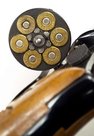 38 caliber: A revolver chamber is open showing amuunition Stock Photo