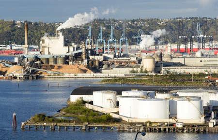 tacoma: Port of Tacoma Washington operates on a rare sunny day