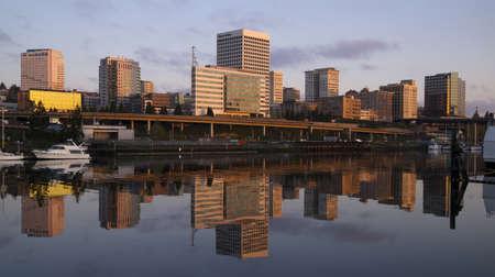 tacoma: Tacoma Washington along the water at Sunrise Stock Photo