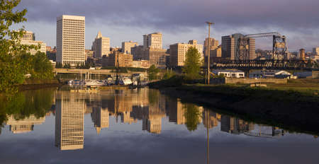 Tacoma Washington along the water at Sunrise Фото со стока