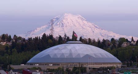 dome building: Looking from Hilltop across at the Tacoma Dome and Mount Rainier National Park