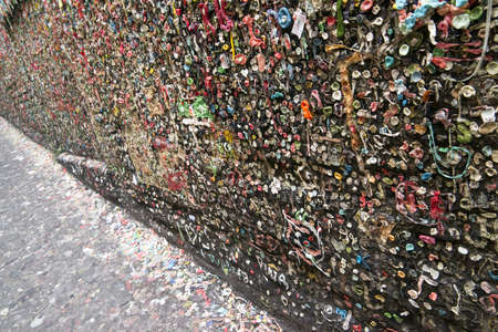 bubblegum: Gum travels up the wall at Market Theater Post Alley Seattle WA Editorial