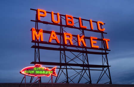 public market sign: The Public Market Sign in Seattle is a great place to buy items and visit