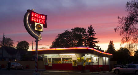 diner: A Rare Sunset Saturated with Color at the Frisko Freeze Popular Historical Drive-In Burger Restaurant in Tacoma Washington