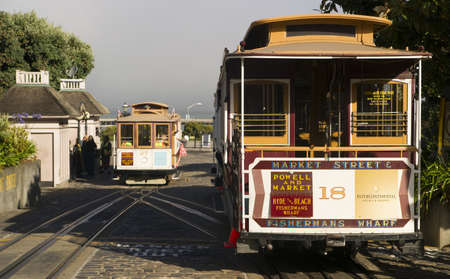 staging: San Francisco, California, USA - August 8, 2012: Cable driven Market Street trolley cars wait in staging near the waterfront to be filled with passengers. Editorial