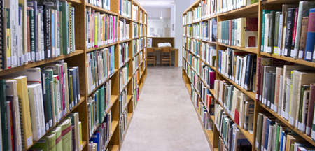 Phoenix, Arizona, USA - January 1, 2009: Rows of books on shelves inside the Schilling Library at the Desert Botanic Garden in Phoenix.  Editorial