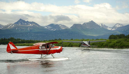 Seaplane Taxis Takeoff Lake Hood Ted Stevens National Airport Anchorage