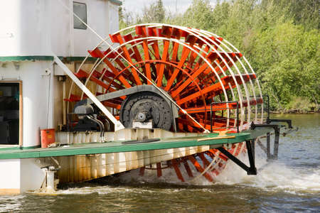 water wheel: A paddle wheel is seen here on sternwheeler vessel