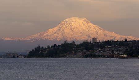 tacoma: Mt. Rainier looms large over north Tacoma and Ruston Way waterfront