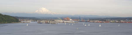 tacoma: An evening boat race is conducted on the waters of Puget Sound Tacoma Washington