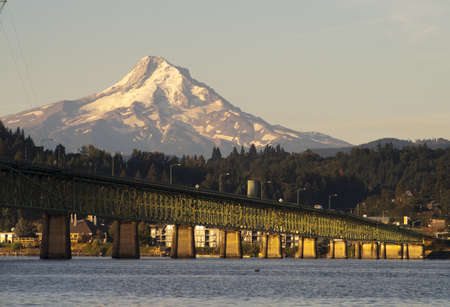 The draw bridge across the Columbia River to Hood River Oregon in the Shadow of Mt Hood