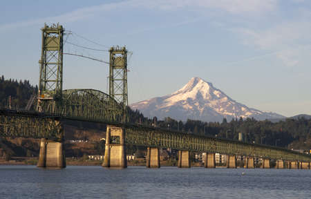 mount hood national forest: The draw bridge across the Columbia River to Hood River Oregon in the Shadow of Mt Hood