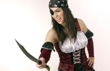 female pirate: One Eyed Female Captains Mate Pirate Knife Fighter Stock Photo