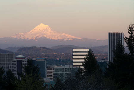 Portland Oregon and Mount Hood in the Distance